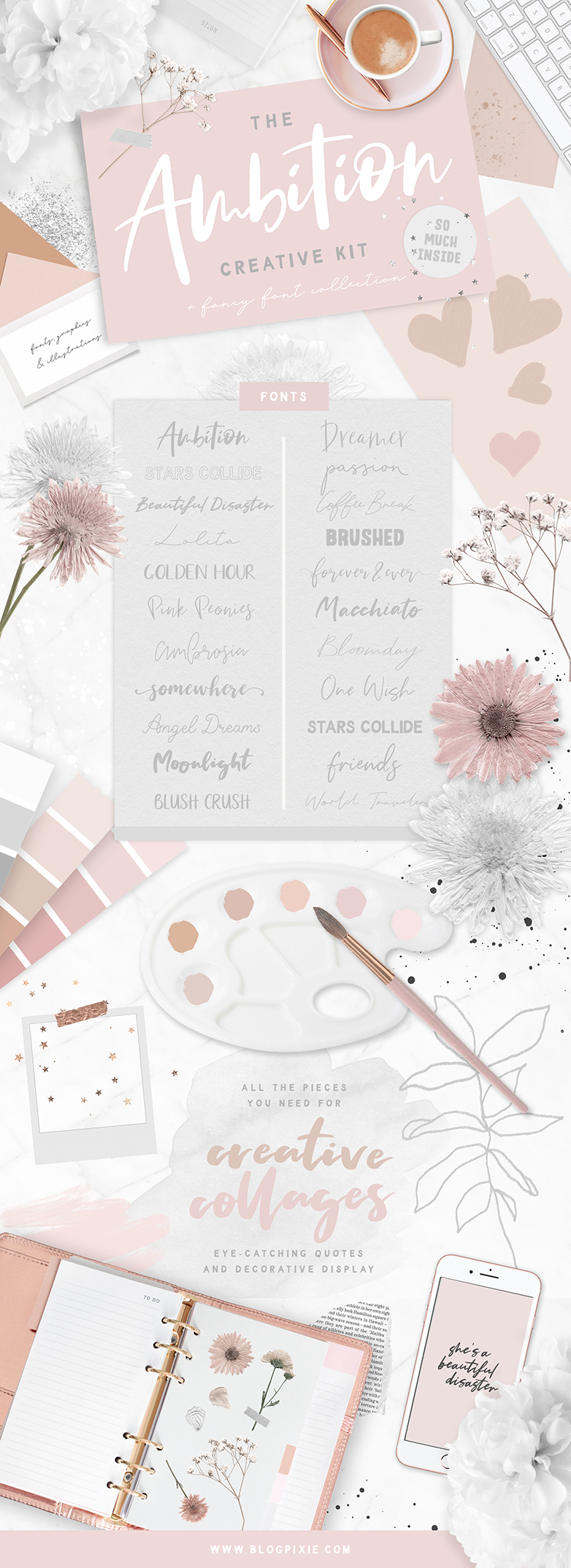 Font bundle to download - The Ambition Creative Kit by Blog Pixie