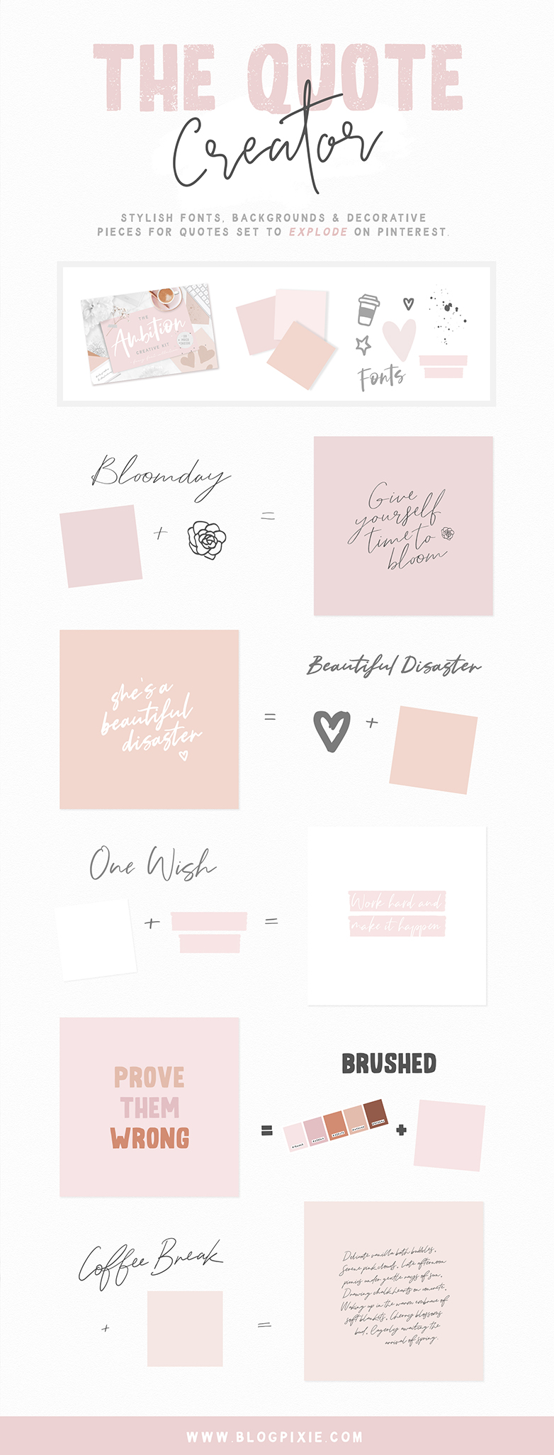 Font Bundle & Collage Graphics - The Ambition Creative Kit by Blog Pixie