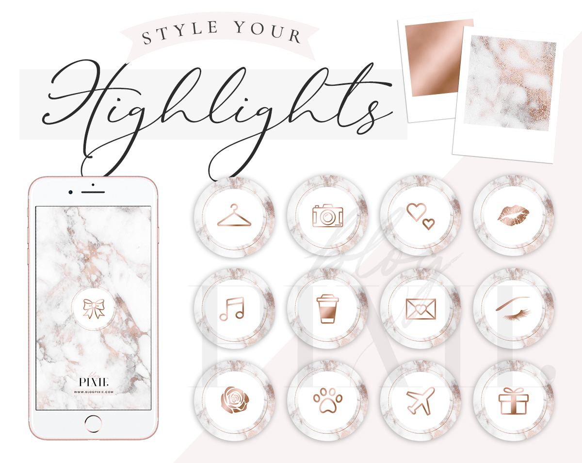 Instagram Highlight Icons - Rose Gold and Marble Highlights by Blog Pixie
