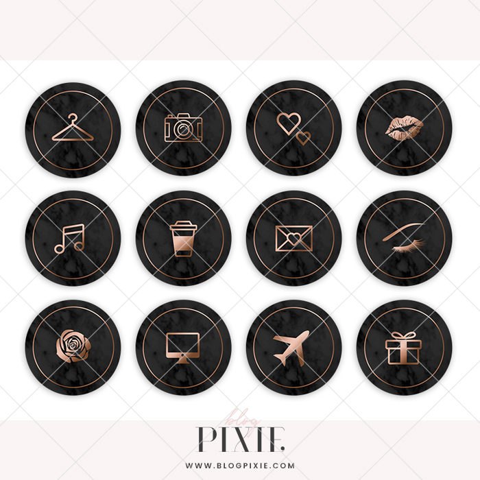 Instagram Highlight Icons - Black Marble and Rose Gold