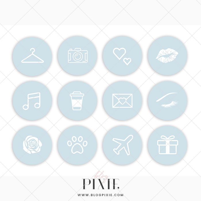 Instagram Pinterest Icons: Light Blue And White ⋆ Blog Pixie