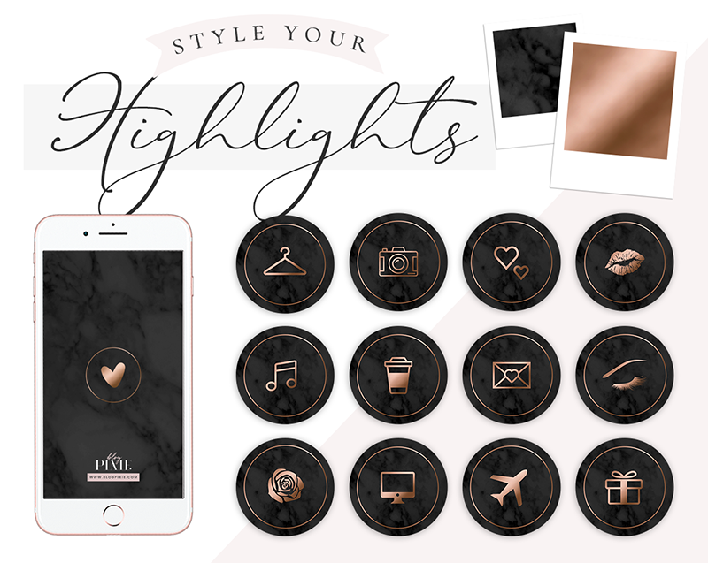 Instagram Highlight Icons Black Marble And Rose Gold Blog Pixie