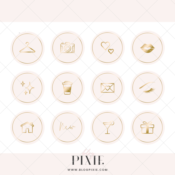 Instagram Pinterest Icons: Pink And Gold ⋆ Blog Pixie