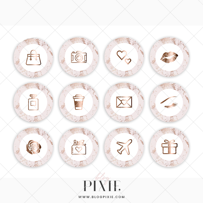 Instagram Highlight Icons Pink Rose Gold Marble Blog Pixie