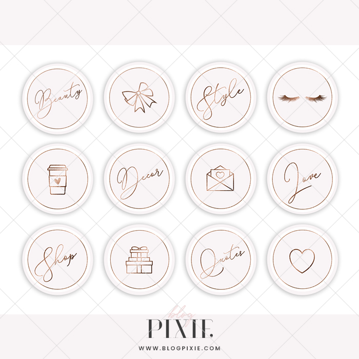 Instagram Highlight Icons Pink And Rose Gold Glitter Blog Pixie