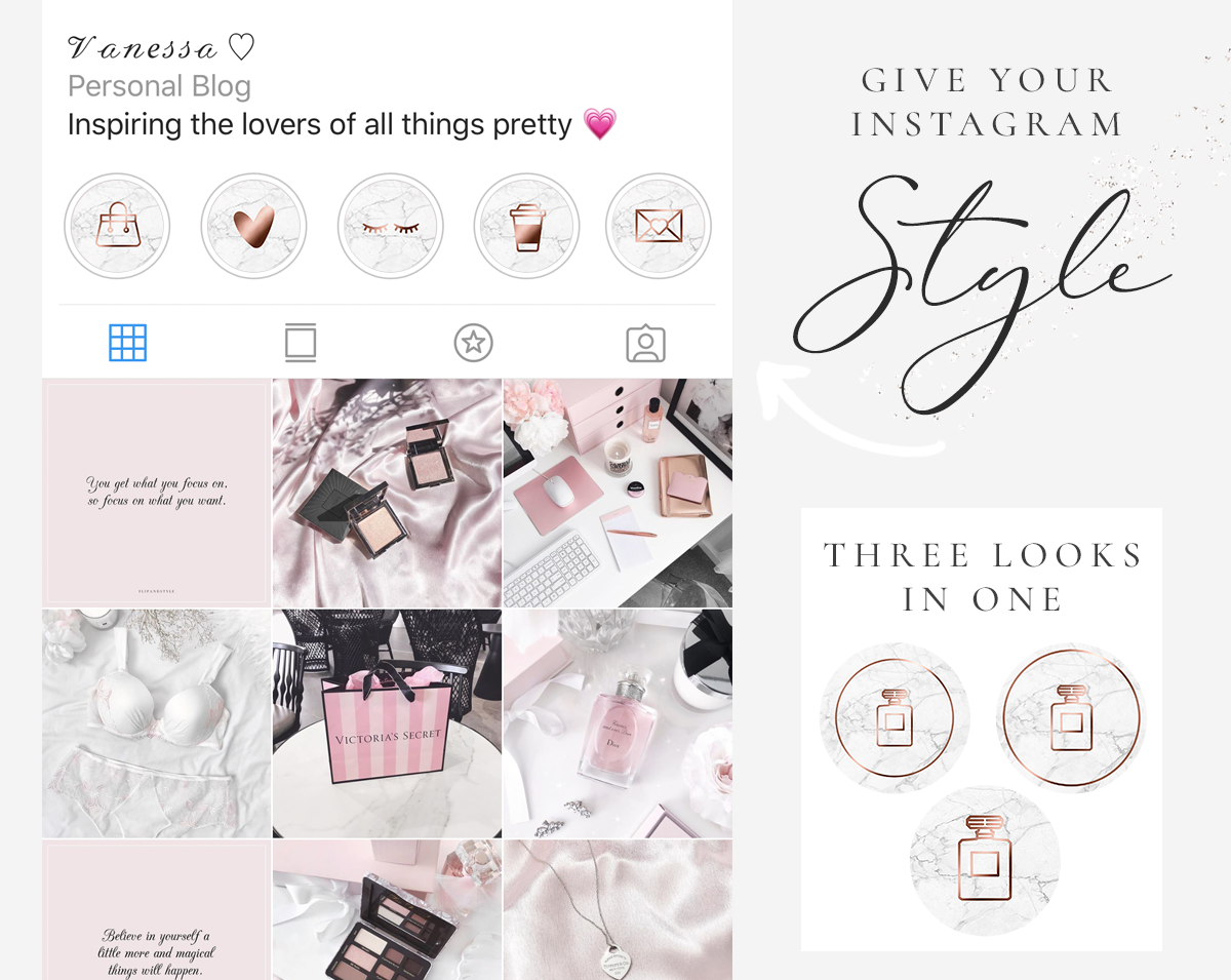 Rose Gold Marble Instagram Story Highlight Icons Blog Pixie Highlights
