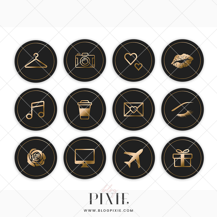 Instagram Highlight Icons Black And Gold Blog Pixie