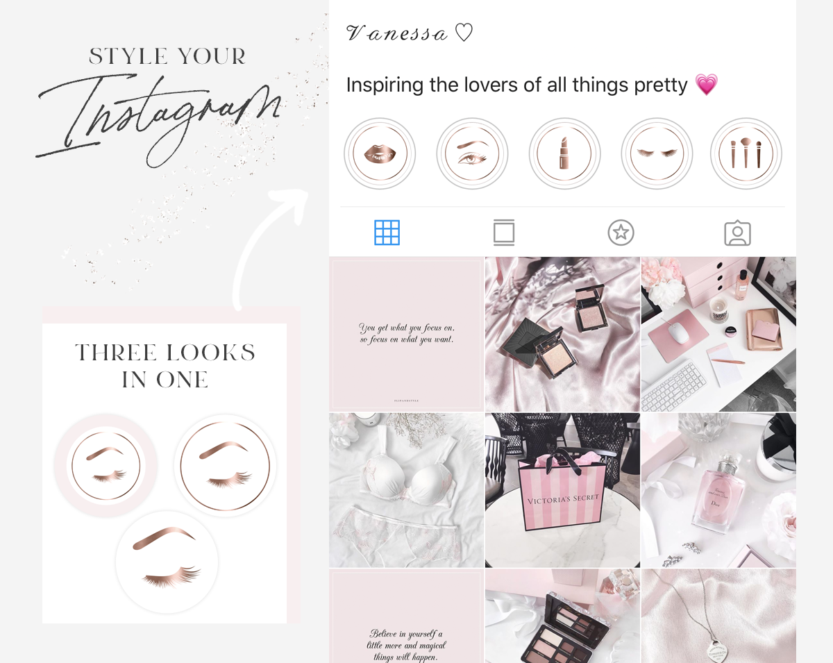 Instagram Highlight Covers Beauty Icons Makeup Artist Lash Branding