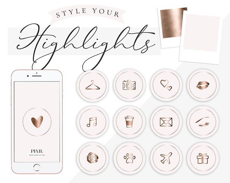 Pink Rose Gold Instagram Highlight Covers