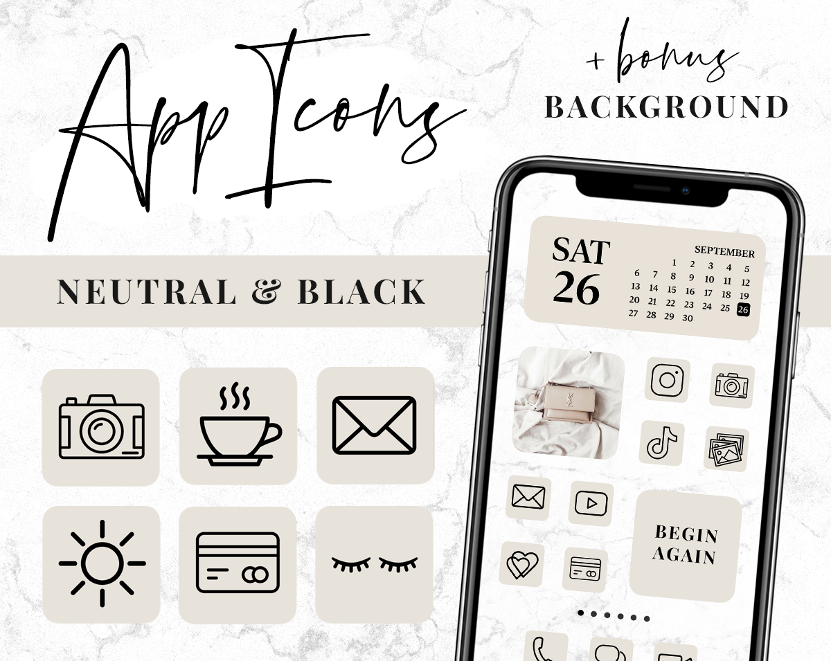 Beige and black app icons