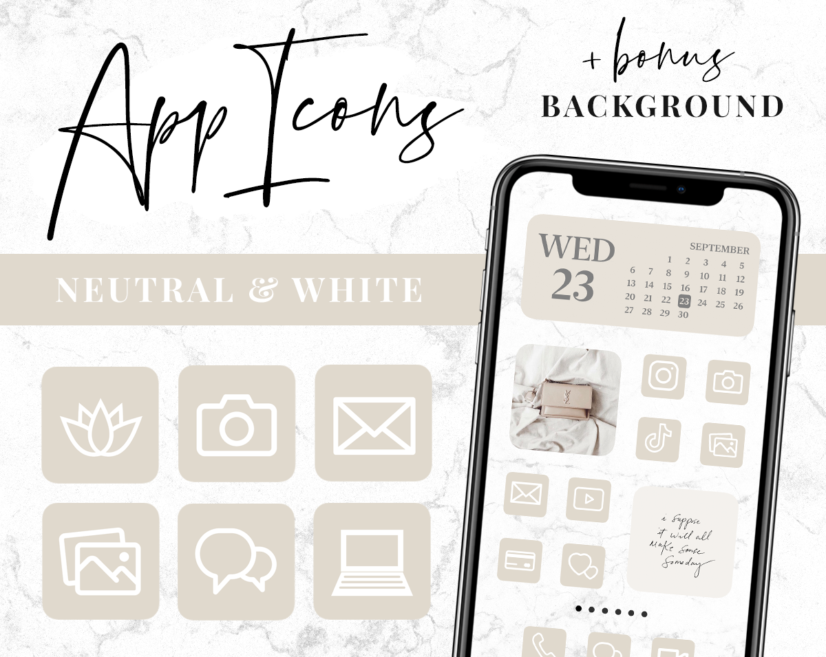 Beige and white app icons
