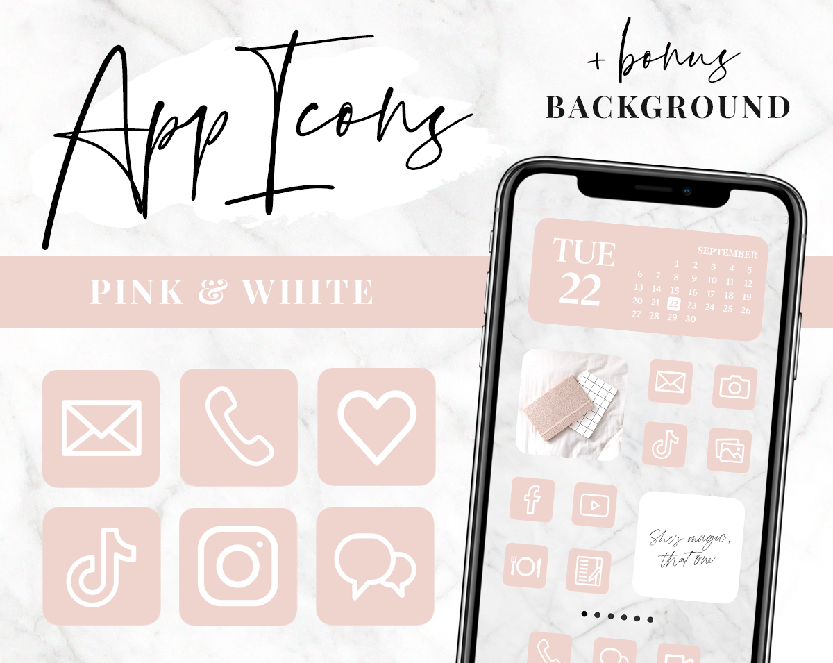Pink and white app icons