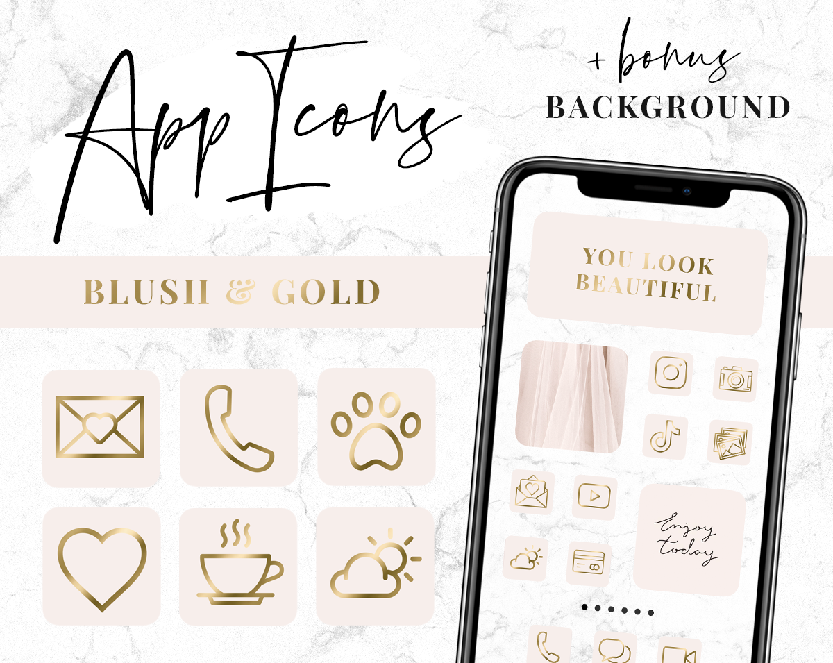 Blush and gold app icons