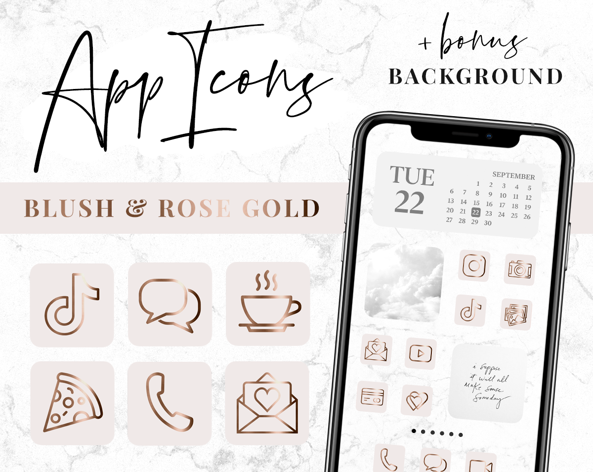 Blush pink and rose gold app icons