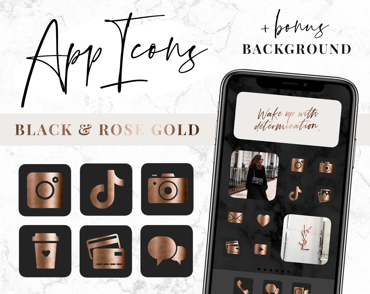 Black and rose gold app icons