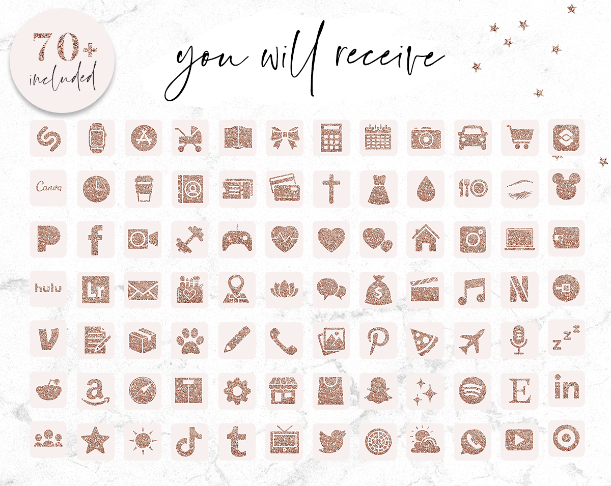 Rose Gold Glitter and Pink App Icons - Pretty Aesthetic iPhone App Icons