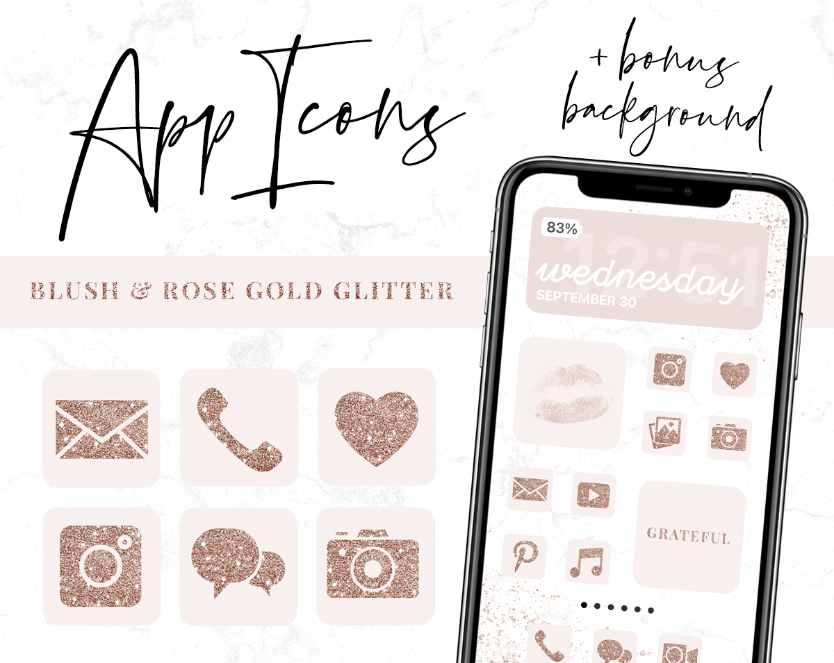 Blush and Rose Gold Glitter App Icons for iPhone