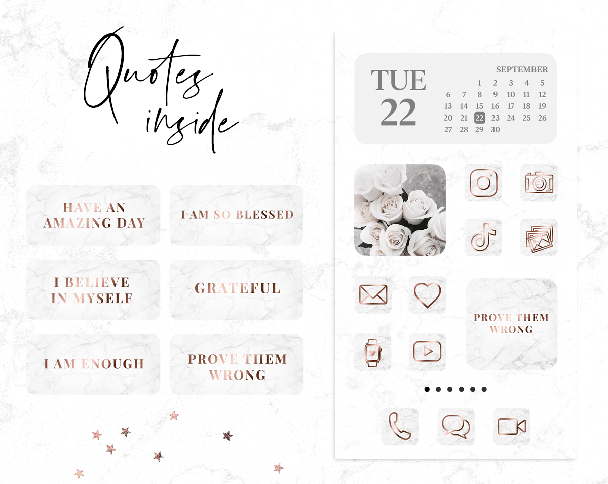 Rose Gold And Marble App Icons For Iphone Ios 14 Blog Pixie
