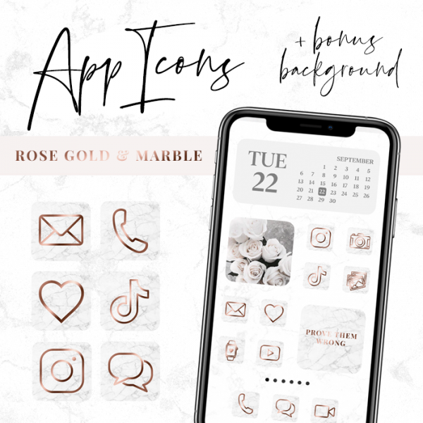 Rose Gold Marble App Icons for iPhone