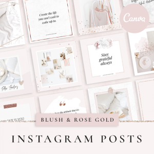 pretty rose gold instagram post templates for canva