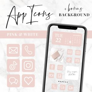 app icons pink and white for IOS 14