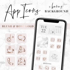 app icons aesthetic pink and rose gold